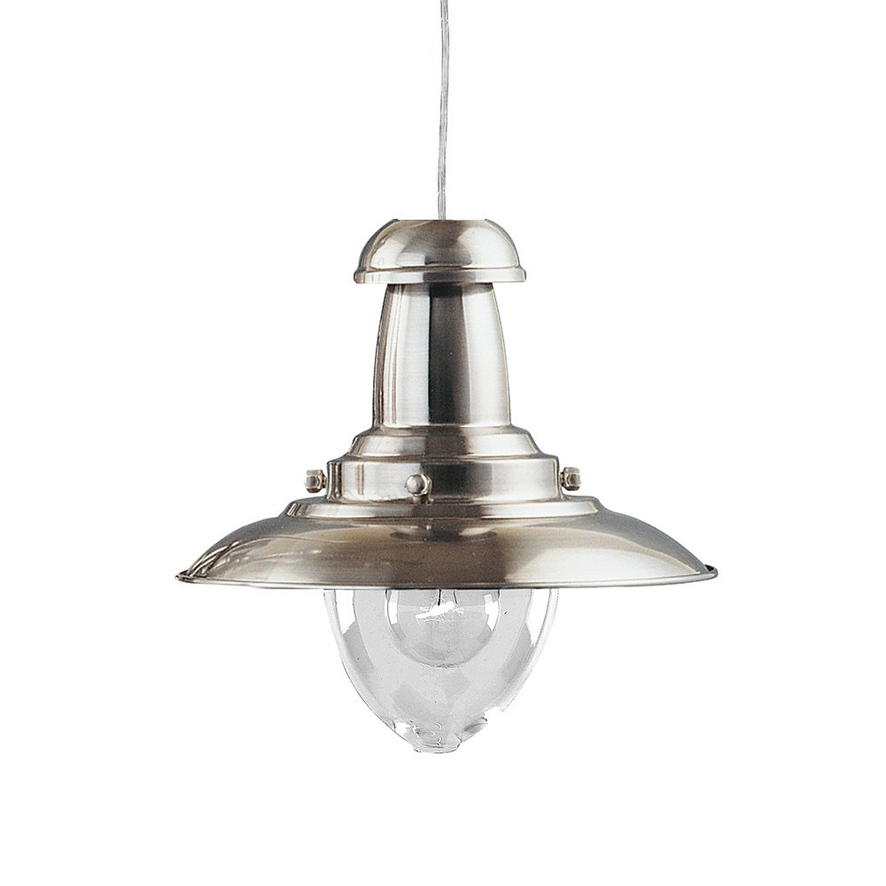 THLC Satin Silver Fishermans Style Pendant Light Lantern