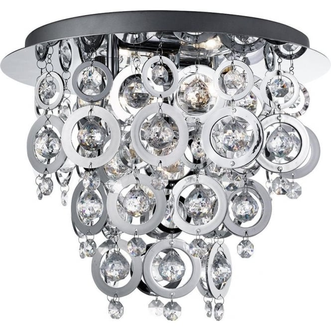 Searchlight 0573-3CC Modern Nova Loop and Ball Flush Ceiling Light in Chrome