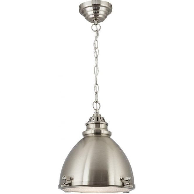 Searchlight 1-Light Satin Silver Dome Pendant Light With Glass Diffuser 1294SS