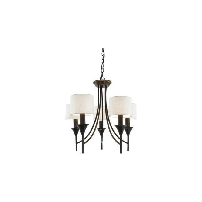 1005 5br Eloisa 5 Light Brown Pendant With Fabric Shades Lighting From The Home Centre Uk