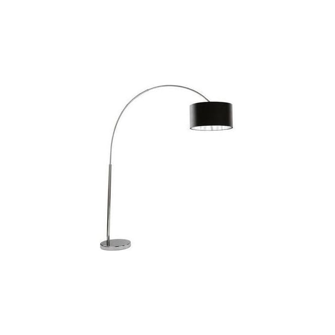 Searchlight 1013CC Arcs Chrome Floor Lamp With Black Fabric Shade