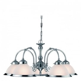 1045-5 American Diner Satin Silver 5 Light Ceiling Pendant