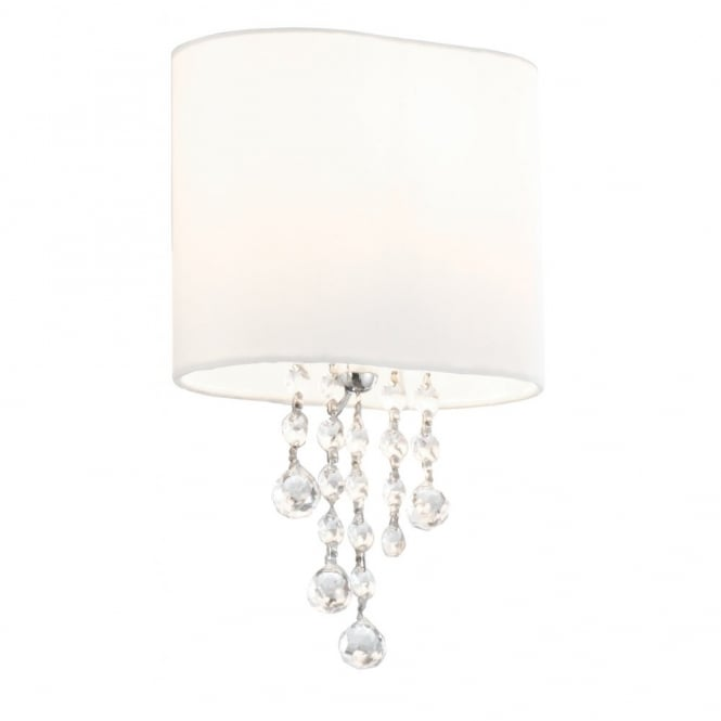 Searchlight 1051-1CC Nina 1 Light Wall Lamp With Glass And A Fabric Shade