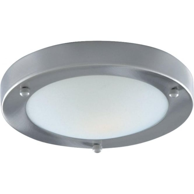 Searchlight 1131-31SS Satin Silver Flush 31cm Bathroom Light I.P44