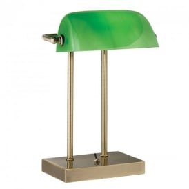 1200AB Bankers Lamp with Green Glass in Antique Brass