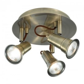 1223AB Eros Antique Brass 3 Light Ceiling Spotlight