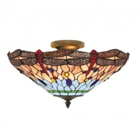 1289-16 Dragonfly Tiffany Ceiling Uplighter