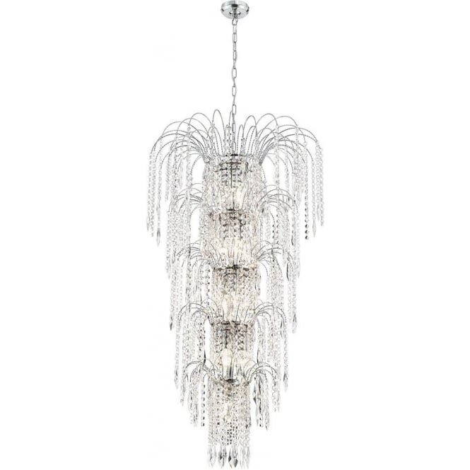 Searchlight 1313-13CC Waterfall Chrome 13 Light Large Crystal Pendant