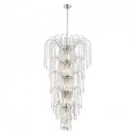 1313-13CC Waterfall Chrome 13 Light Large Crystal Pendant
