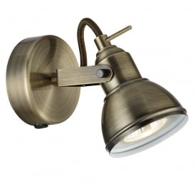 1541AB Focus Industrial Style Antique Brass 1 Way Single Spotlight