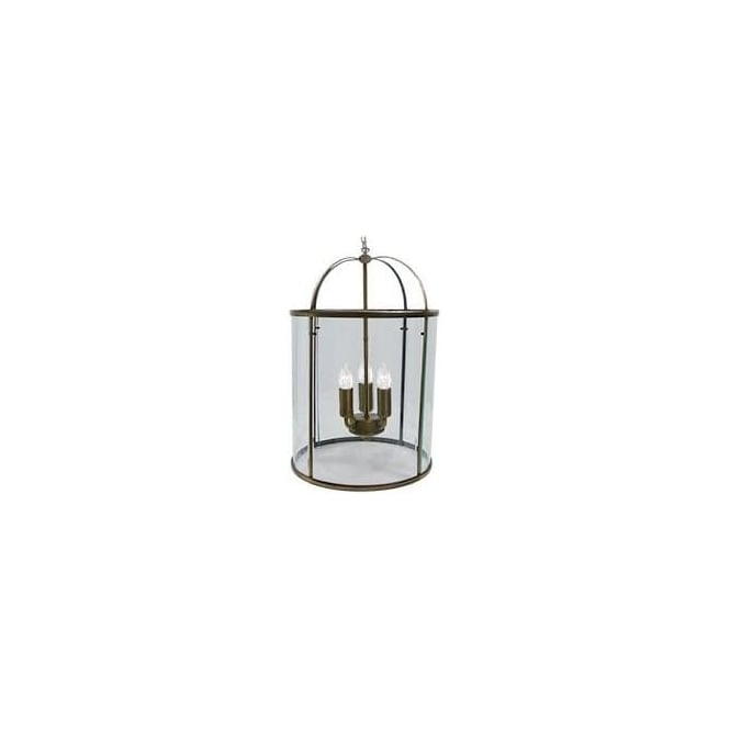 Searchlight 1833-3AB 3 Light Domed Lantern in Antique Brass with Clear Glass Shade