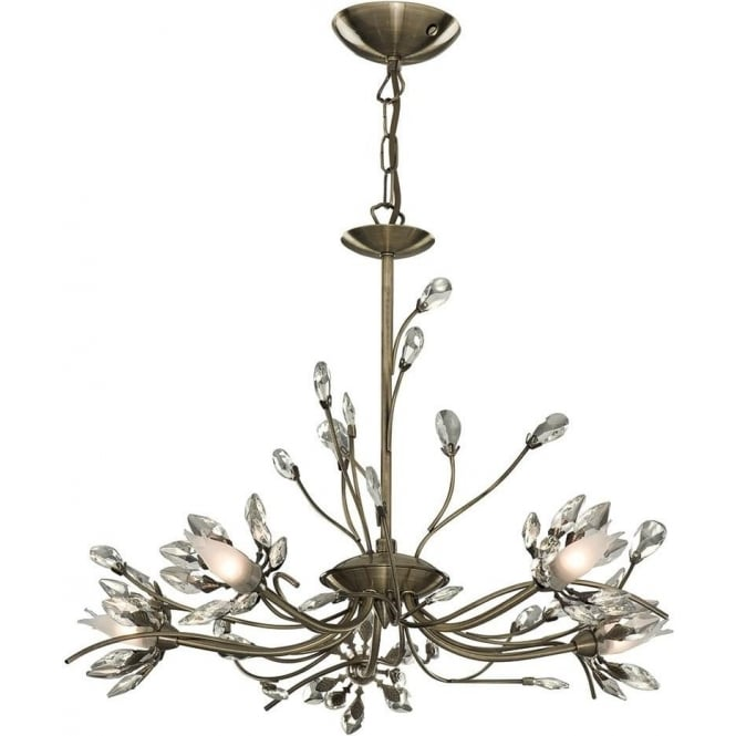 Searchlight 1885-5AB Hibiscus 5 Light Chandelier In Antique Brass