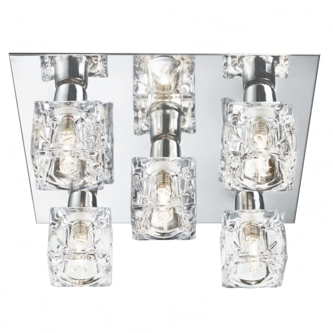Searchlight 2275-5 5 Light Ice Cube Ceiling Light with Chrome Backplate