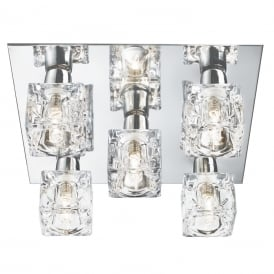 2275-5 5 Light Ice Cube Ceiling Light with Chrome Backplate