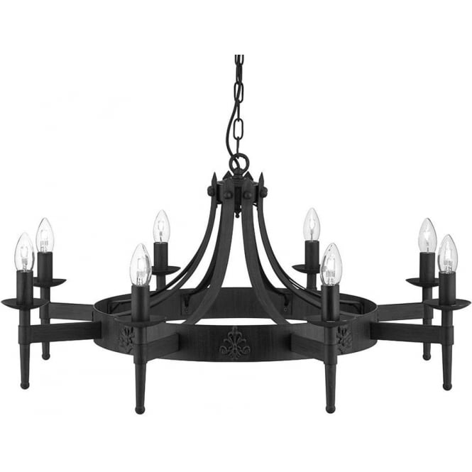 Searchlight 2428-8BK 8 Light Wrought Iron Cartwheel Ceiling Light