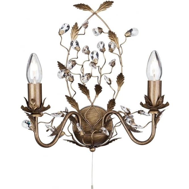 Searchlight 2492-2BR Almandite 2 Light Crystal Wall Light
