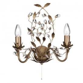 2492-2BR Almandite 2 Light Crystal Wall Light