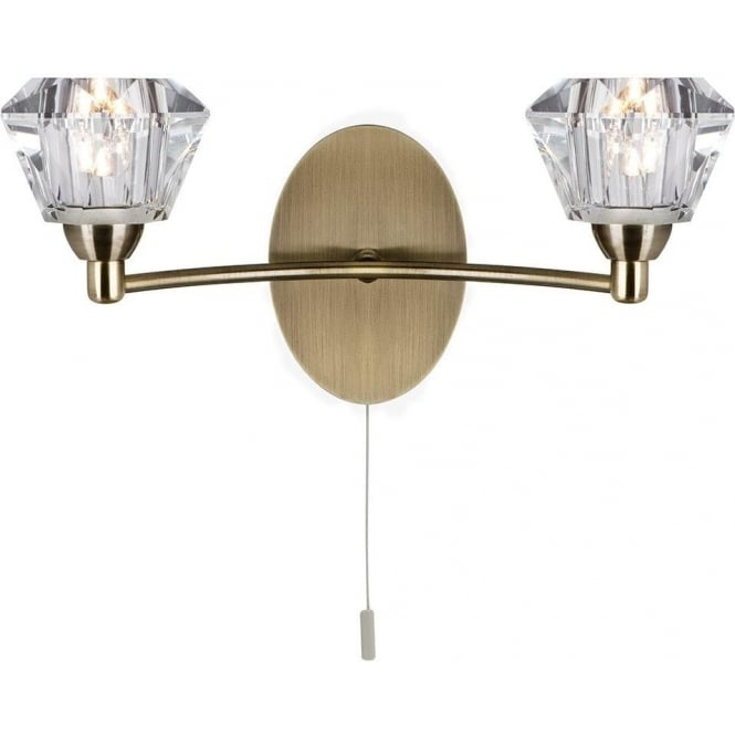 Searchlight 2632-2AB Sierra 2 Light Antique Brass and Glass Wall Light