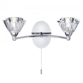 2632-2CC Sierra 2 Light Chrome and Glass Wall Light with Pull switch