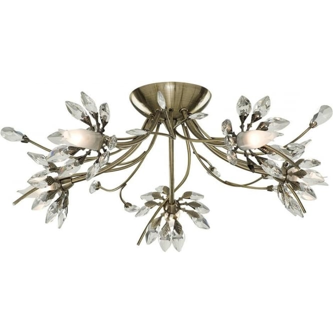 2885-5AB Hibiscus 5 Light Flush Ceiling Pendant In Antique Brass