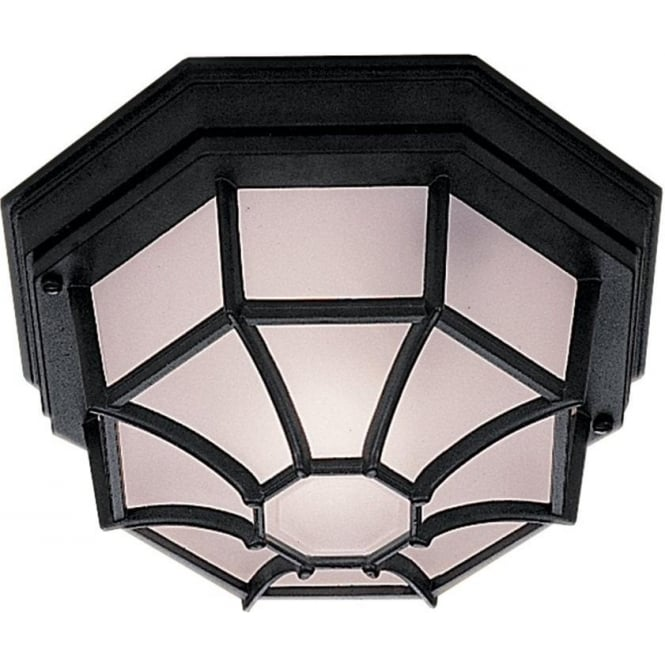 Searchlight 2942BK Outdoor Hexaganal Black Flush Light