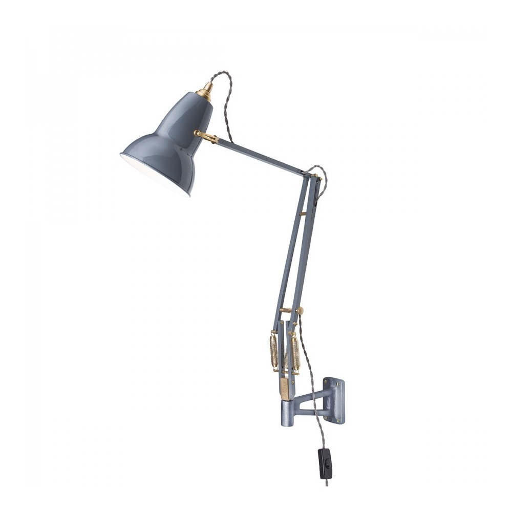 Anglepoise 31329 Original 1227 BRASS Adjustable Wall Mounted Light in Elephant Grey - Lighting ...