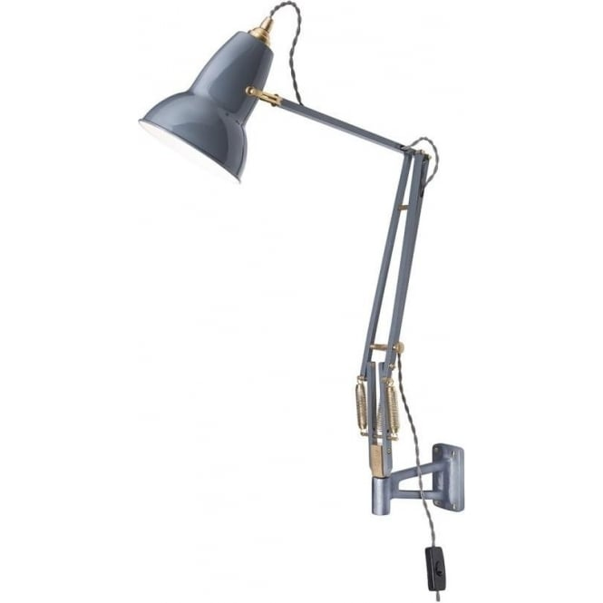 Anglepoise 31329 Original 1227 BRASS Adjustable Wall Mounted Light in Elephant Grey