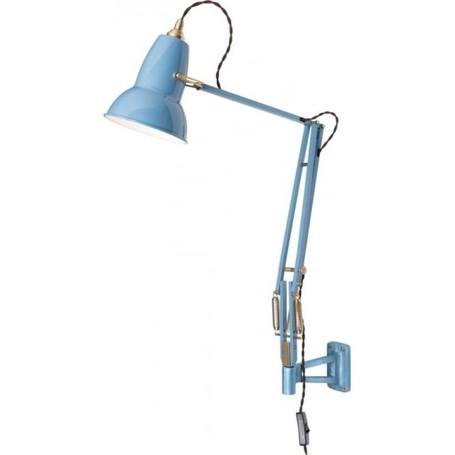 Anglepoise 31330 Original 1227 BRASS Adjustable Wall Mounted Light in Dusty Blue