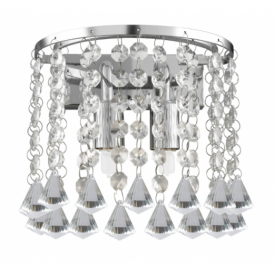 3302-2CC Hanna Chrome And Crystal 2 Light Wall Lamp