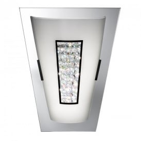 3773 Art Deco Chrome Mirror Wall Light with Crystal