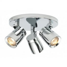 39167 Knight 3 Light Bathroom Chrome Ceiling Spotlight