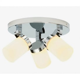 39617 Cosmo 3 Light Bathroom Chrome & Glass Ceiling Light