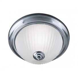 4042 2 Light Satin Silver Bathroom Flush Ceiling Light With Ribbed Glass