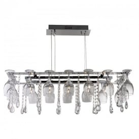 41510-10CC Vino 10 Light Chrome Wine Glass Ceiling Pendant