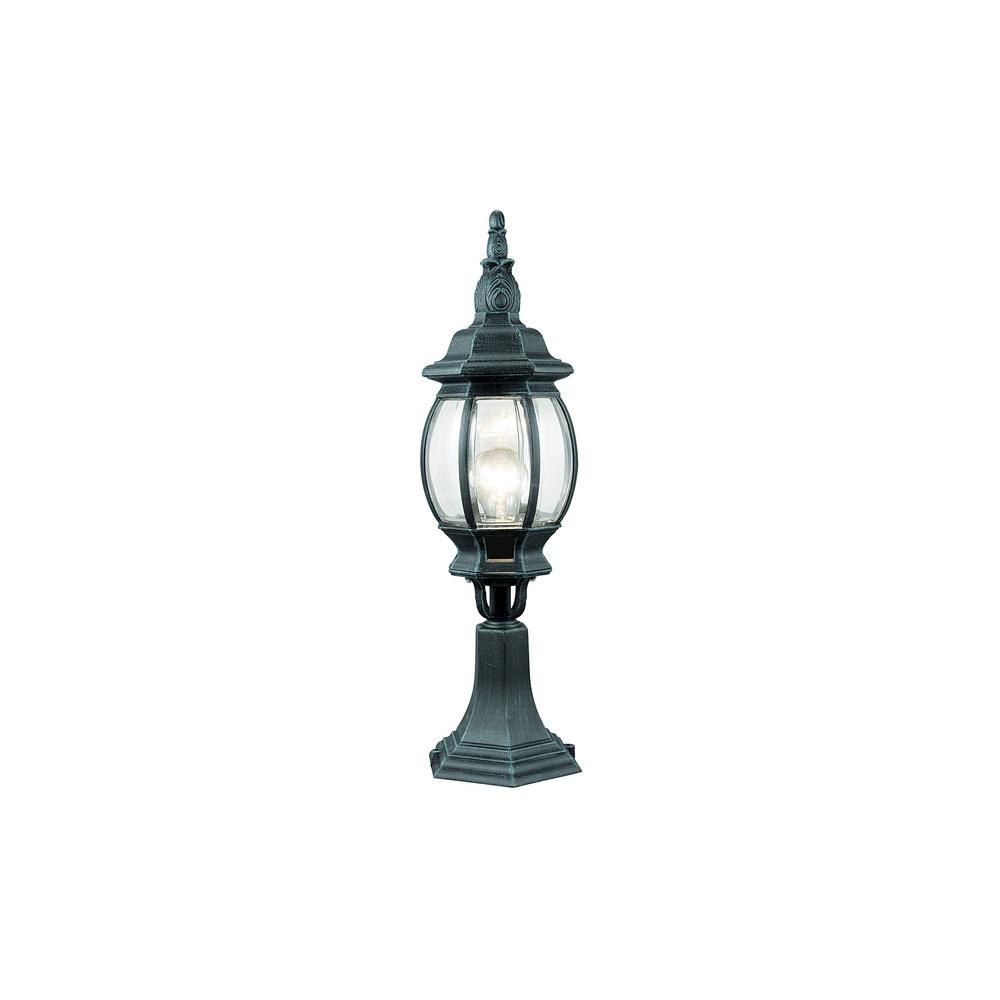 Dark Verdigris Green Ornate Pedestal Light: Eglo Lighting 4173 Outdoor Classic Steel Pedestal Lamp In