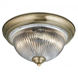4370 IP44 American Diner Flush Ceiling Light In Antique Brass
