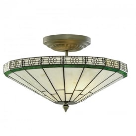 4417-17 New York 2 Light Tiffany Glass Semi Flush Ceiling Light