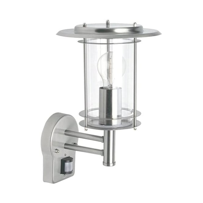 Saxby Lighting 4479782 York 1 Light Exterior Sensor Polished Steel Lantern