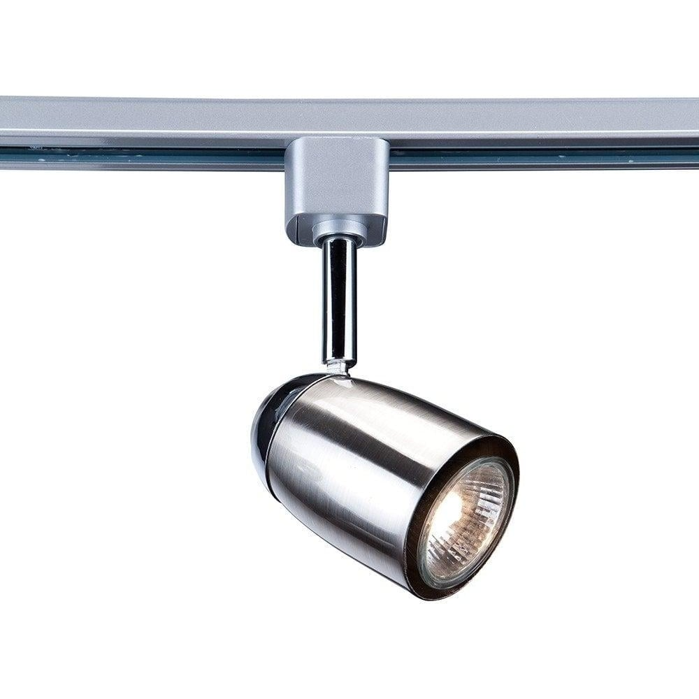Chrome And Black Track Lighting: Searchlight 5109SS Satin Silver And Chrome Track Spotlight