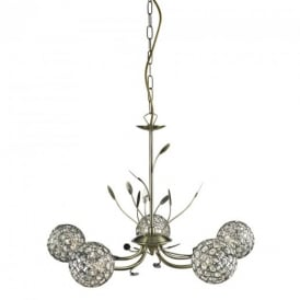 5575-5AB Bellis II Antique Brass/Glass 5 Light Ceiling Pendant