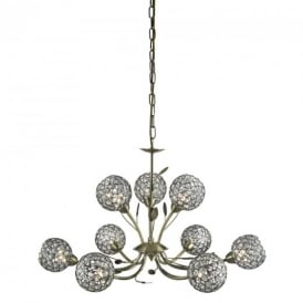 5579-9AB Bellis II Antique Brass/Glass 9 Light Ceiling Pendant