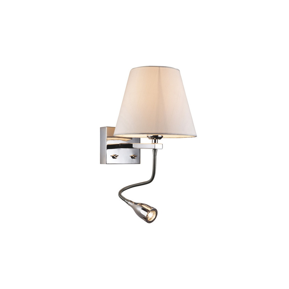 6052 Hilton Shaded Chrome Wall Light With LED Reading Lamp - Lighting from The Home Lighting ...