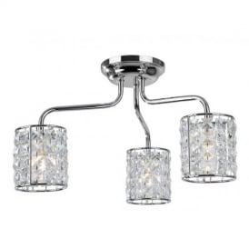 6151 Pearl 3 Light Chrome And Crystal Bathroom Ceiling Light
