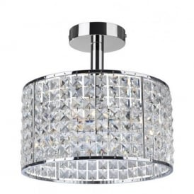6152 Pearl 4 Light Chrome And Crystal Bathroom Ceiling Light