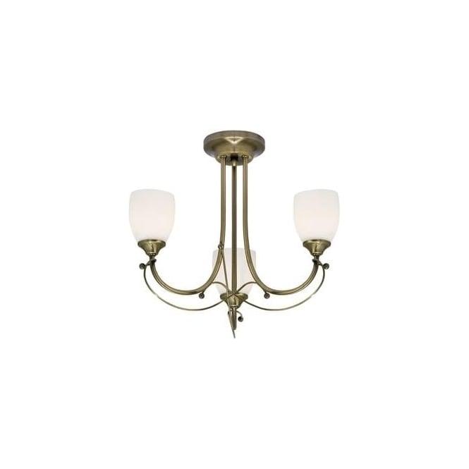 6453 3AB Epsom 3 Light Antique Brass Semi Flush Ceiling Light