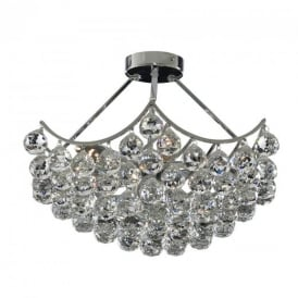 6555-5CC Sassari 5 Light Chrome & Crystal Semi-Flush Lamp