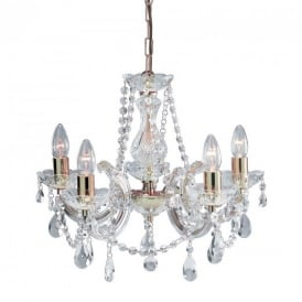 699-5 Marie Therese 5 Light Crystal Chandelier in Gold