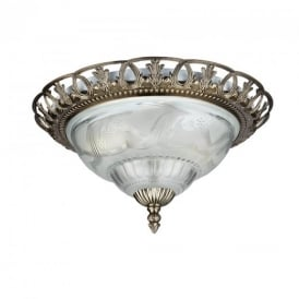 7045-13 Traditional Antique Brass Flush Ceiling Light Fitting