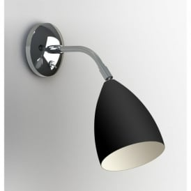7157 Joel Adjustable 1 Light Wall Light in Black and Chrome
