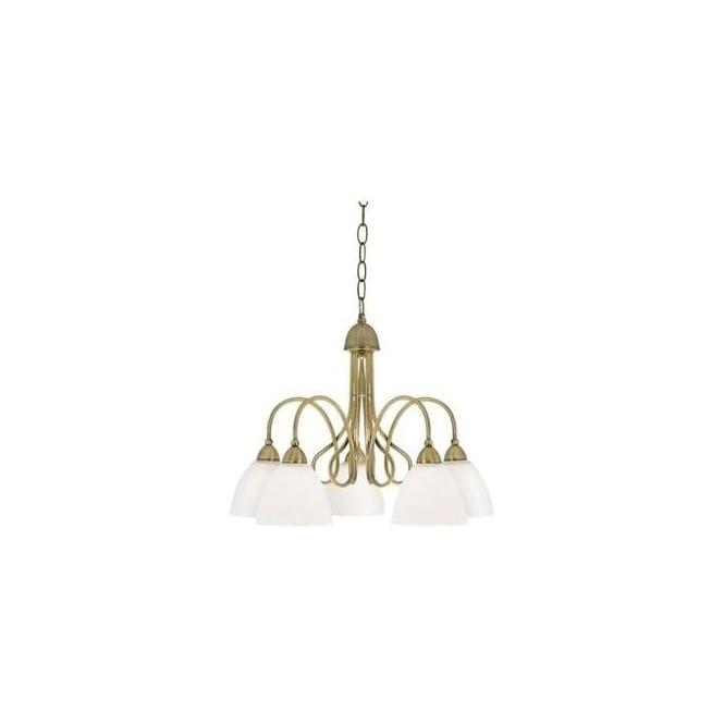7165 5AB Durham 5 Light Antique Brass Pendant Ceiling Light